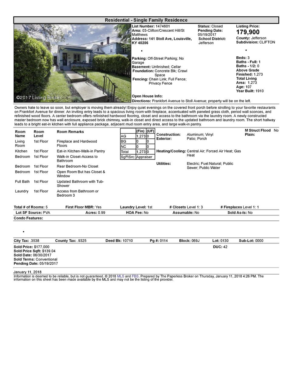 Residential      Single  Family  Residence List  Number   1474601 Area   03  Clifton Crescent  Hill St Matthews Address...
