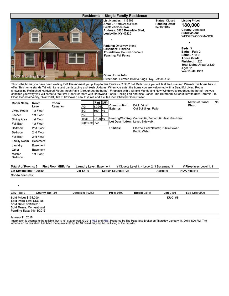 Residential      Single  Family  Residence List  Number   1415508 Area   07  FernCreek Hikes Point Jeffersontown Addres...