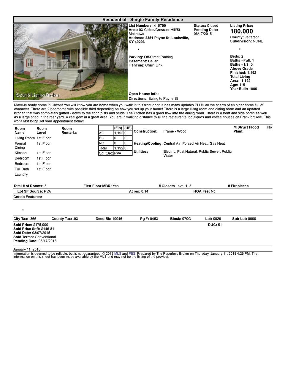 Residential      Single  Family  Residence List  Number   1415799    Status   Closed Area   03  Clifton Crescent  Hill ...