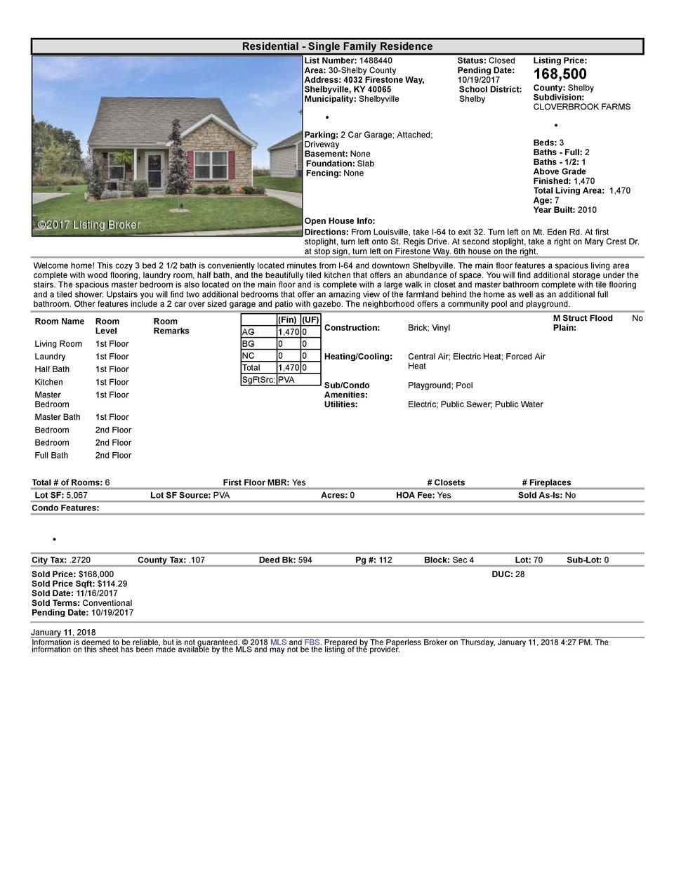 Residential      Single  Family  Residence List  Number   1488440 Area   30  Shelby  County Address   4032  Firestone  ...