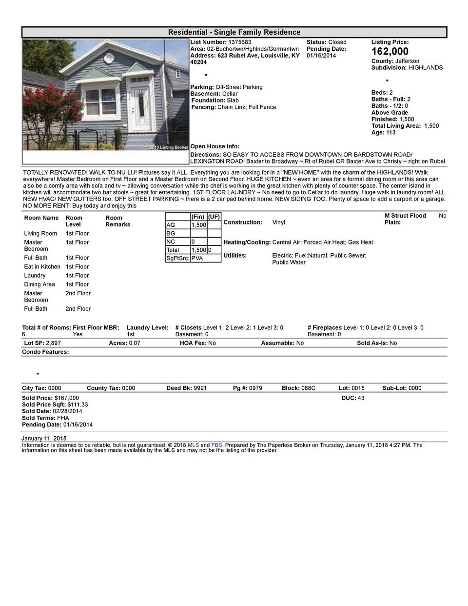 Residential      Single  Family  Residence List  Number   1375683    Status   Closed Area   02  Buchertwn Hghlnds Germa...