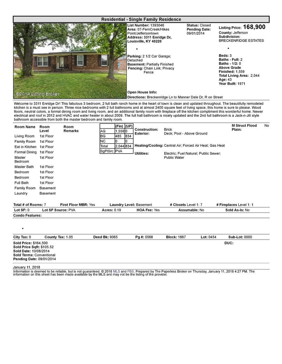 Residential      Single  Family  Residence List  Number   1393046 Area   07  FernCreek Hikes Point Jeffersontown Addres...