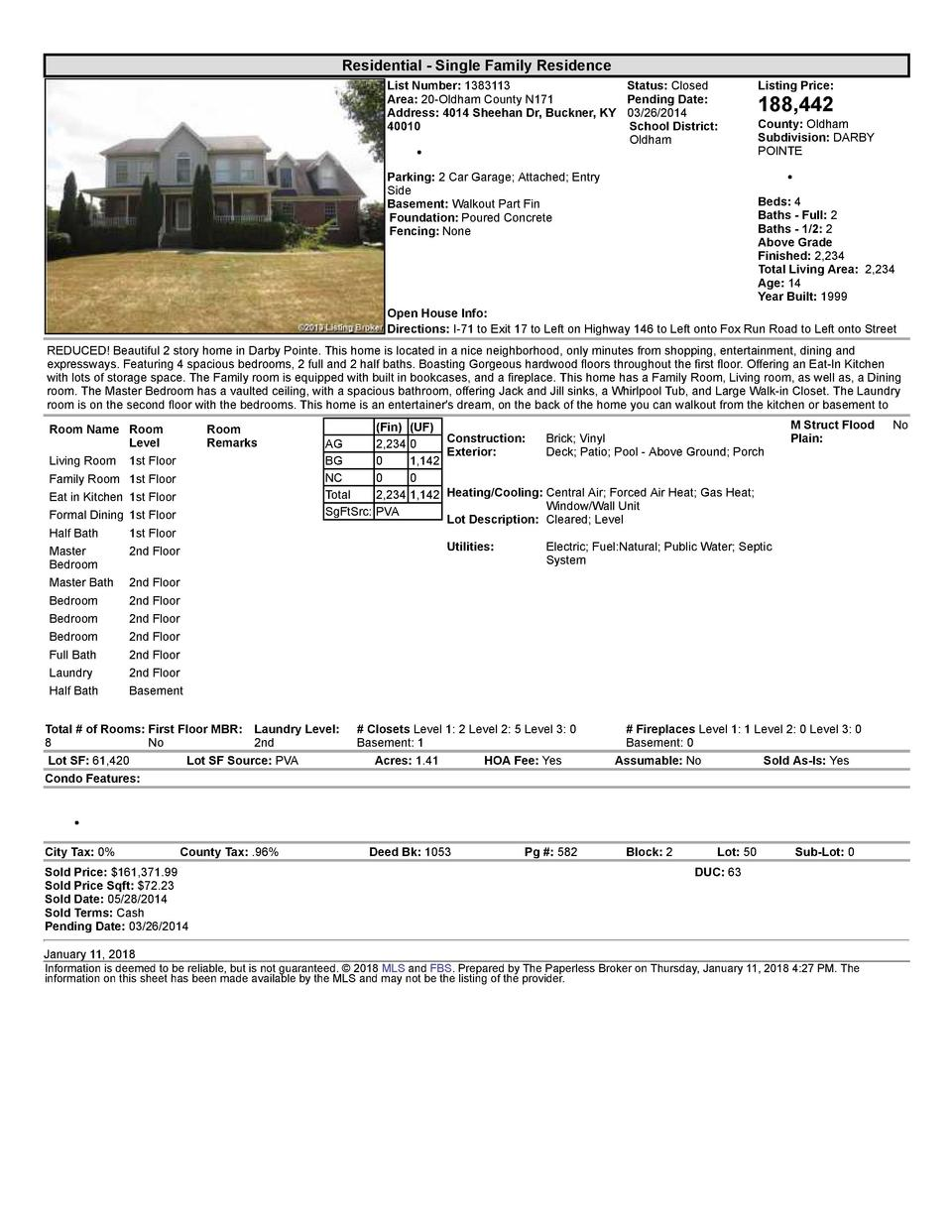 Residential      Single  Family  Residence List  Number   1383113    Status   Closed Area   20  Oldham  County  N171 Pe...