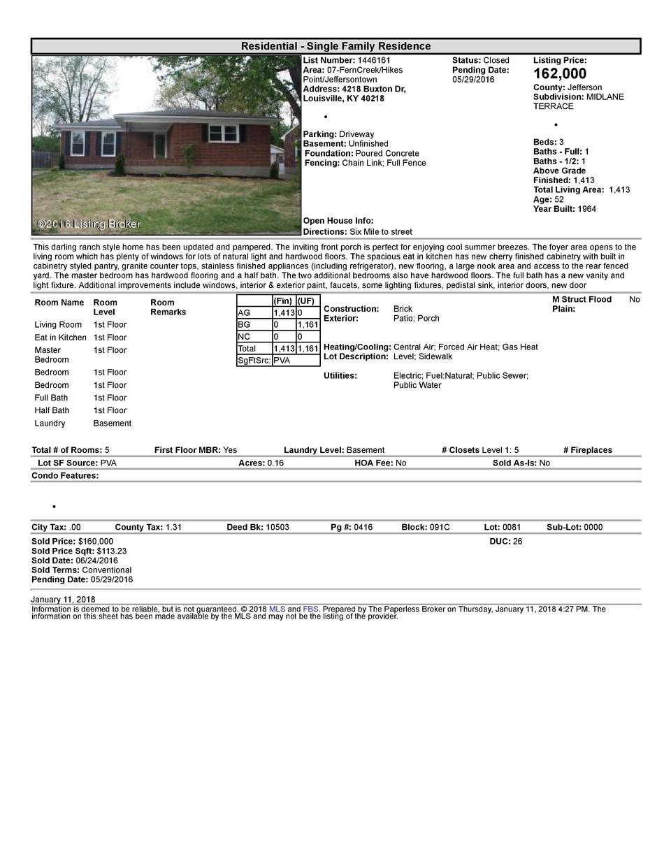 Residential      Single  Family  Residence List  Number   1446161 Area   07  FernCreek Hikes Point Jeffersontown Addres...
