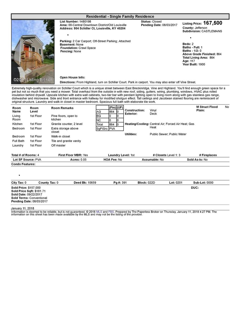 Residential      Single  Family  Residence List  Number   1480198 Area   00  Central  Downtown  District Old  Louisvill...