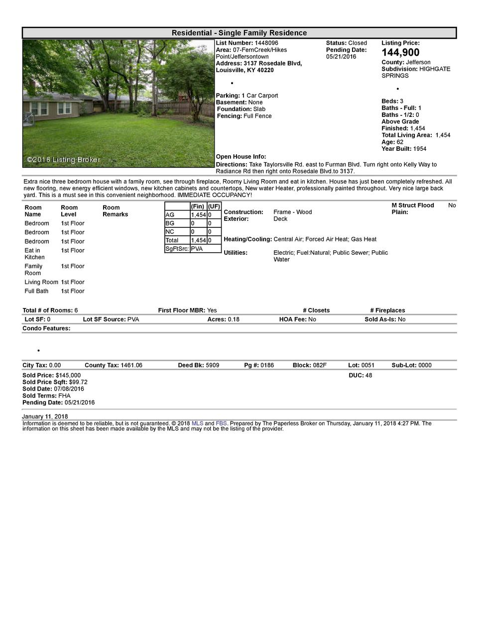 Residential      Single  Family  Residence List  Number   1448096 Area   07  FernCreek Hikes Point Jeffersontown Addres...