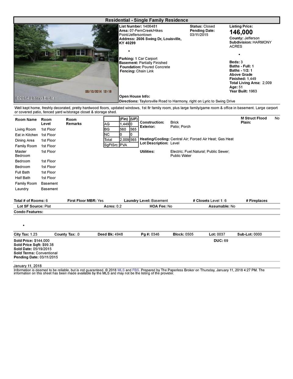 Residential      Single  Family  Residence List  Number   1406481 Area   07  FernCreek Hikes Point Jeffersontown Addres...