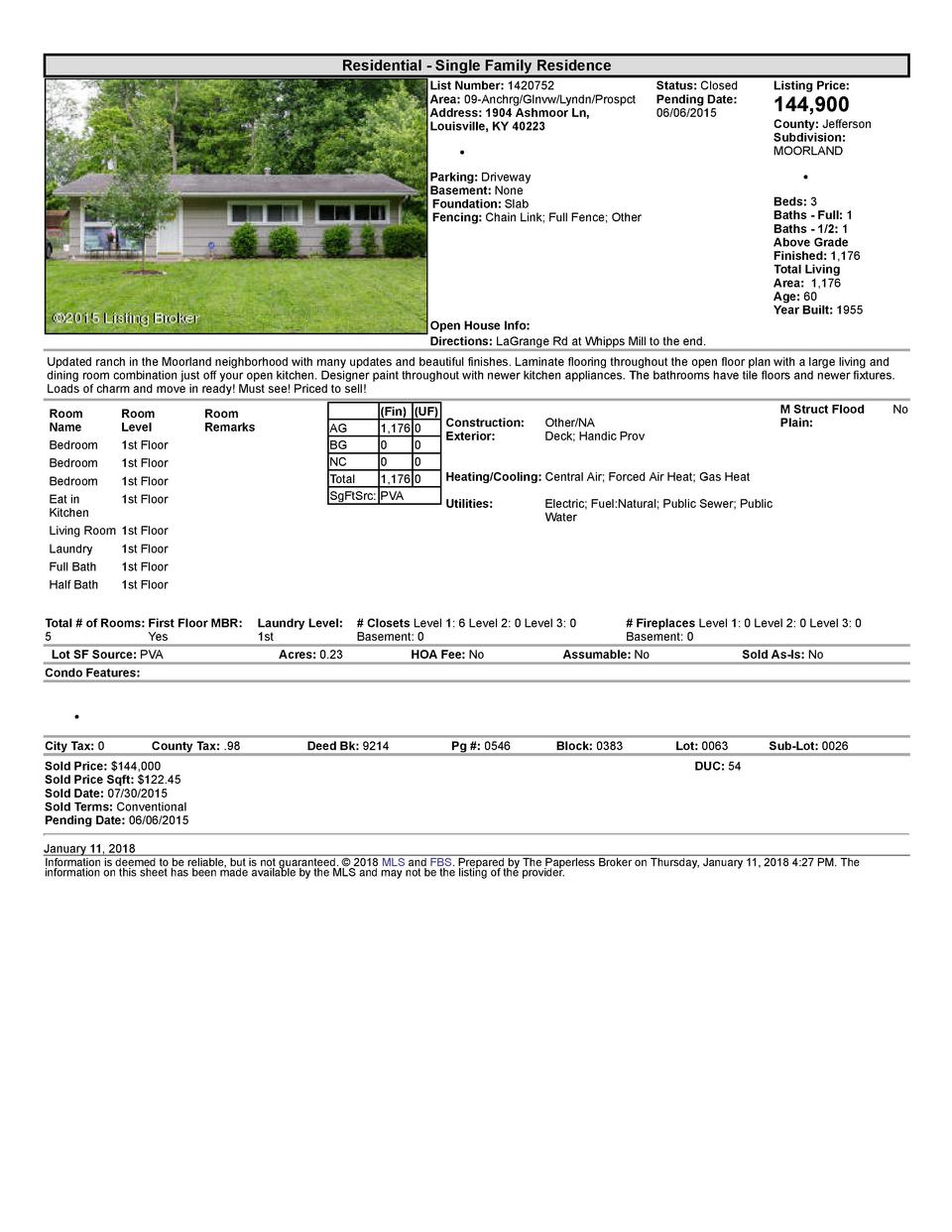 Residential      Single  Family  Residence List  Number   1420752 Area   09  Anchrg Glnvw Lyndn Prospct Address   1904 ...
