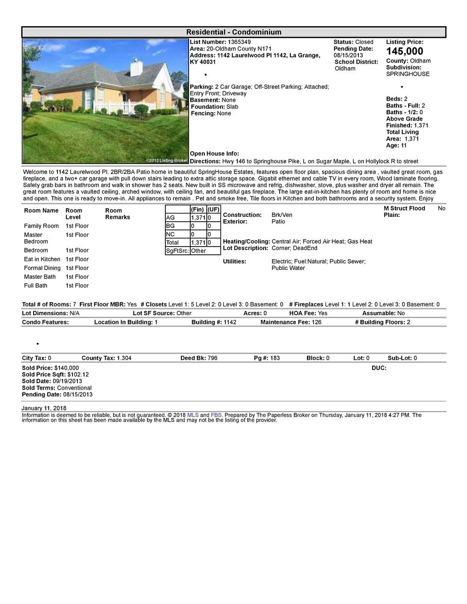 Residential      Condominium List  Number   1365349 Area   20  Oldham  County  N171 Address   1142  Laurelwood  Pl  114...