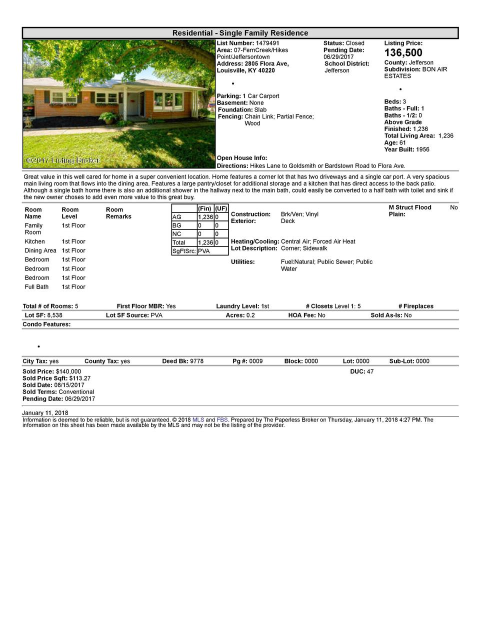 Residential      Single  Family  Residence List  Number   1479491 Area   07  FernCreek Hikes Point Jeffersontown Addres...
