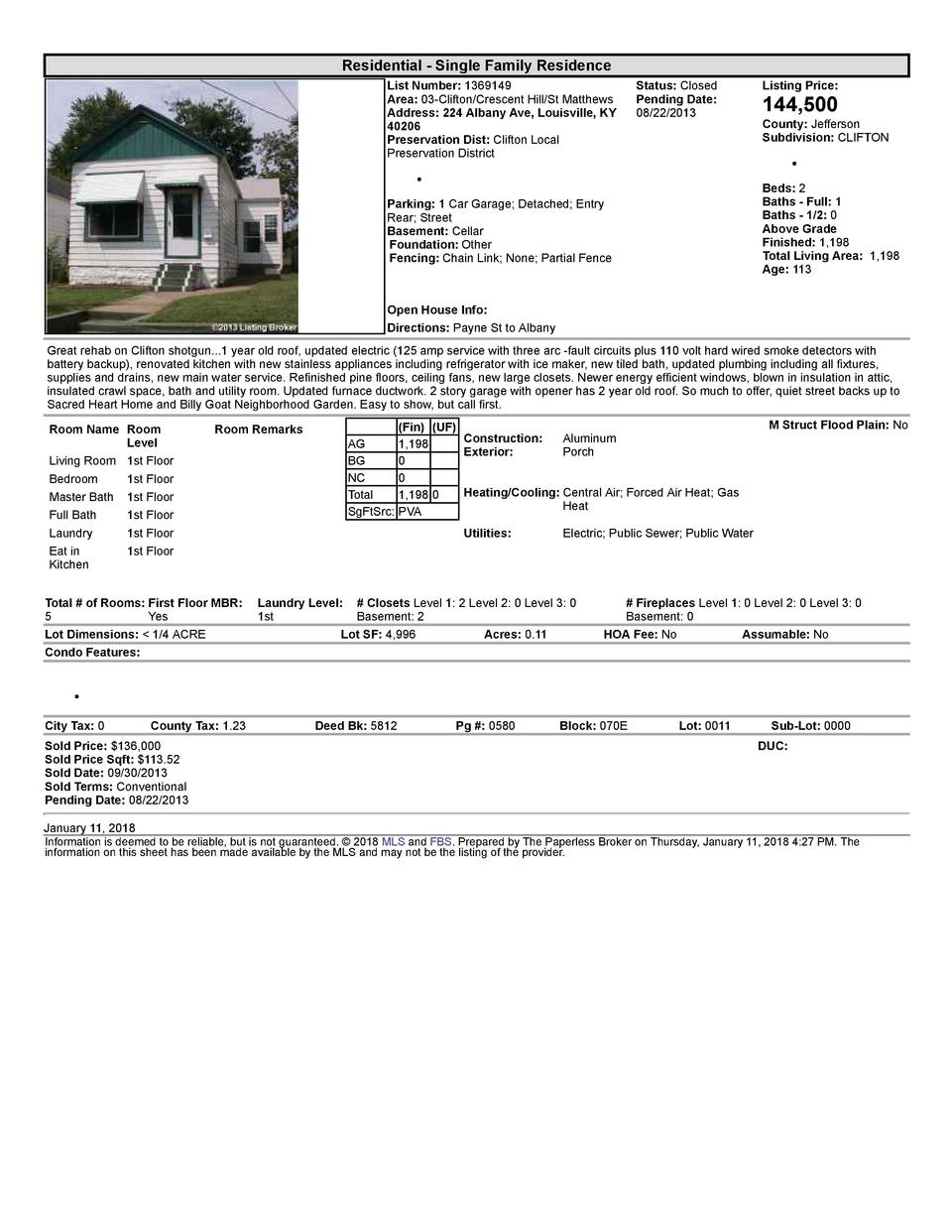 Residential      Single  Family  Residence List  Number   1369149 Area   03  Clifton Crescent  Hill St  Matthews Addres...