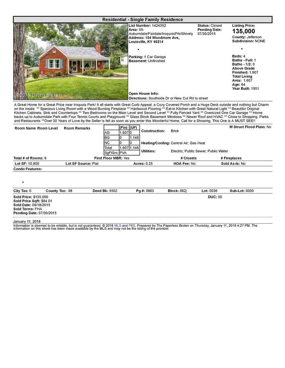 Residential      Single  Family  Residence List  Number   1424352    Status   Closed Area   05   Pending  Date  Auburnd...
