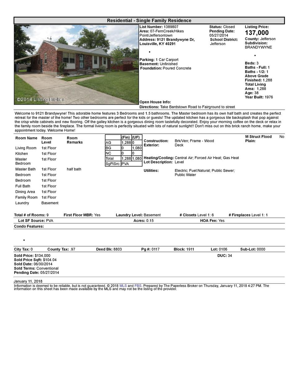 Residential      Single  Family  Residence List  Number   1389807 Area   07  FernCreek Hikes Point Jeffersontown Addres...