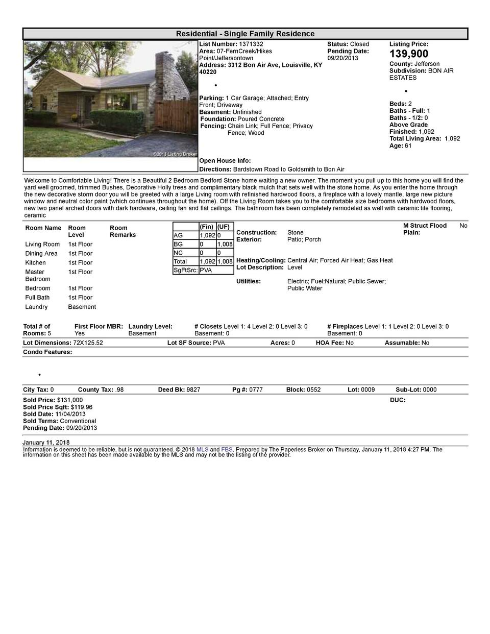 Residential      Single  Family  Residence List  Number   1371332    Status   Closed Area   07  FernCreek Hikes Pending...