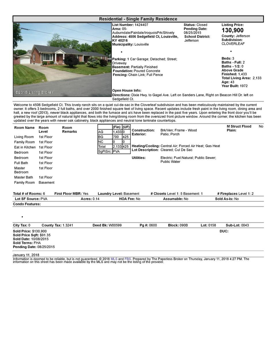 Residential      Single  Family  Residence List  Number   1424407 Area   05   Auburndale Fairdale IroquoisPrk Shively A...