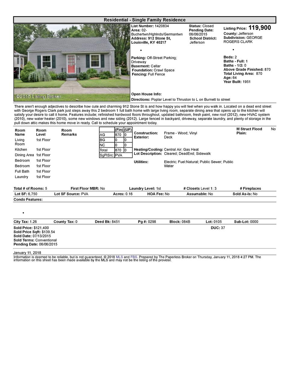Residential      Single  Family  Residence List  Number   1420834 Area   02   Buchertwn Hghlnds Germantwn Address   912...