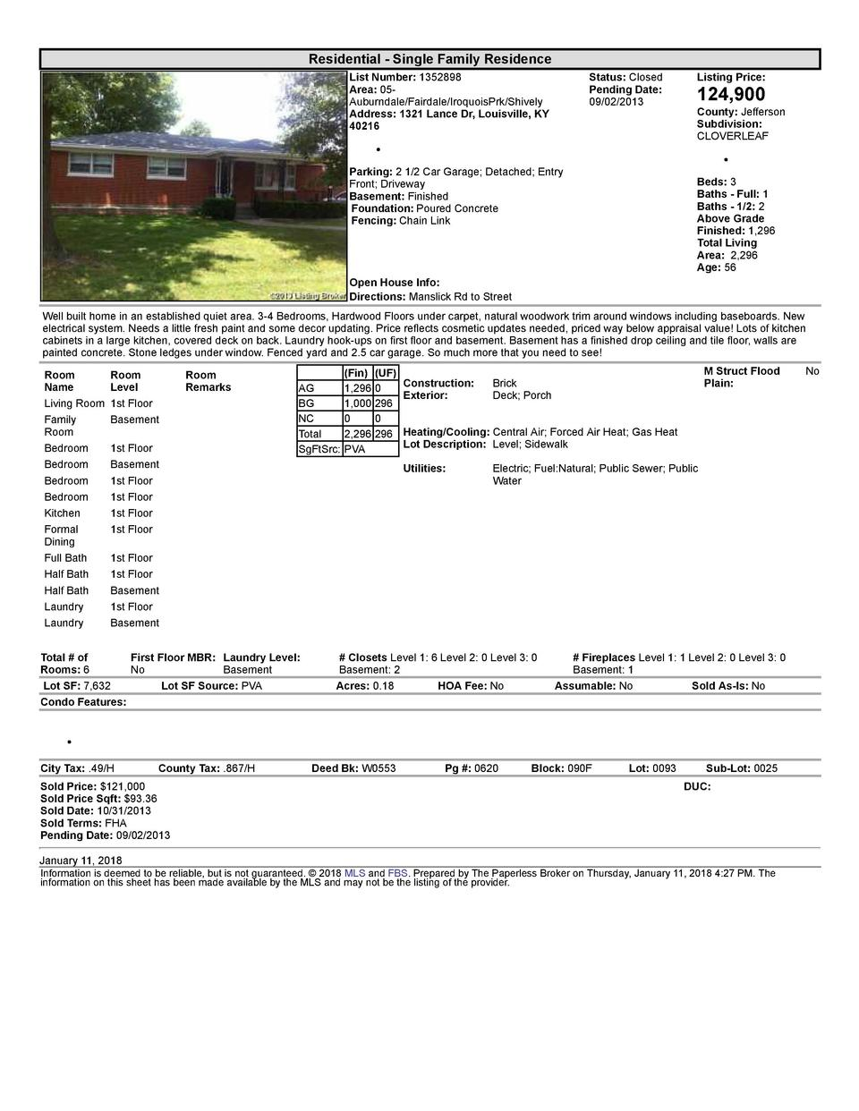 Residential      Single  Family  Residence List  Number   1352898 Area   05   Auburndale Fairdale IroquoisPrk Shively A...
