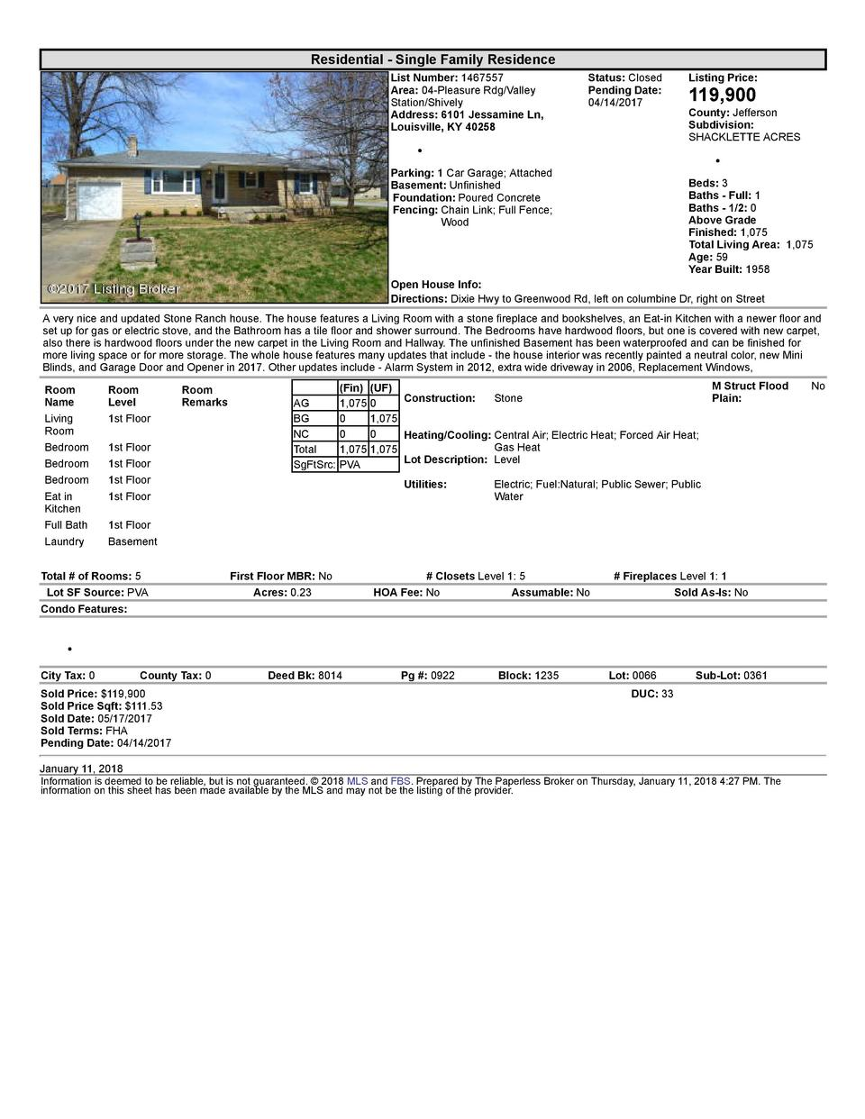 Residential      Single  Family  Residence List  Number   1467557 Area   04  Pleasure  Rdg Valley Station Shively Addre...