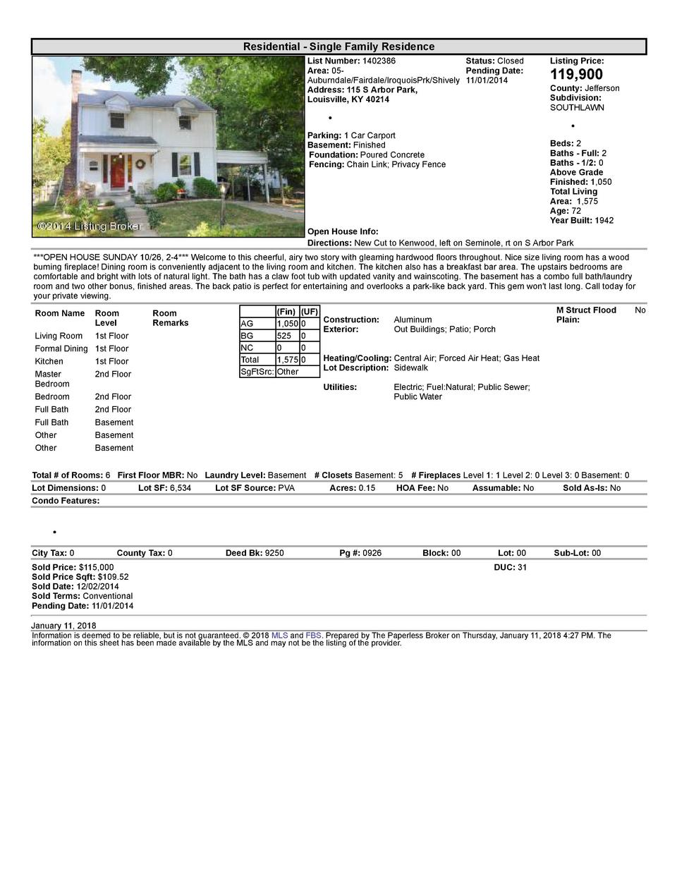 Residential      Single  Family  Residence List  Number   1402386    Status   Closed Area   05   Pending  Date  Auburnd...