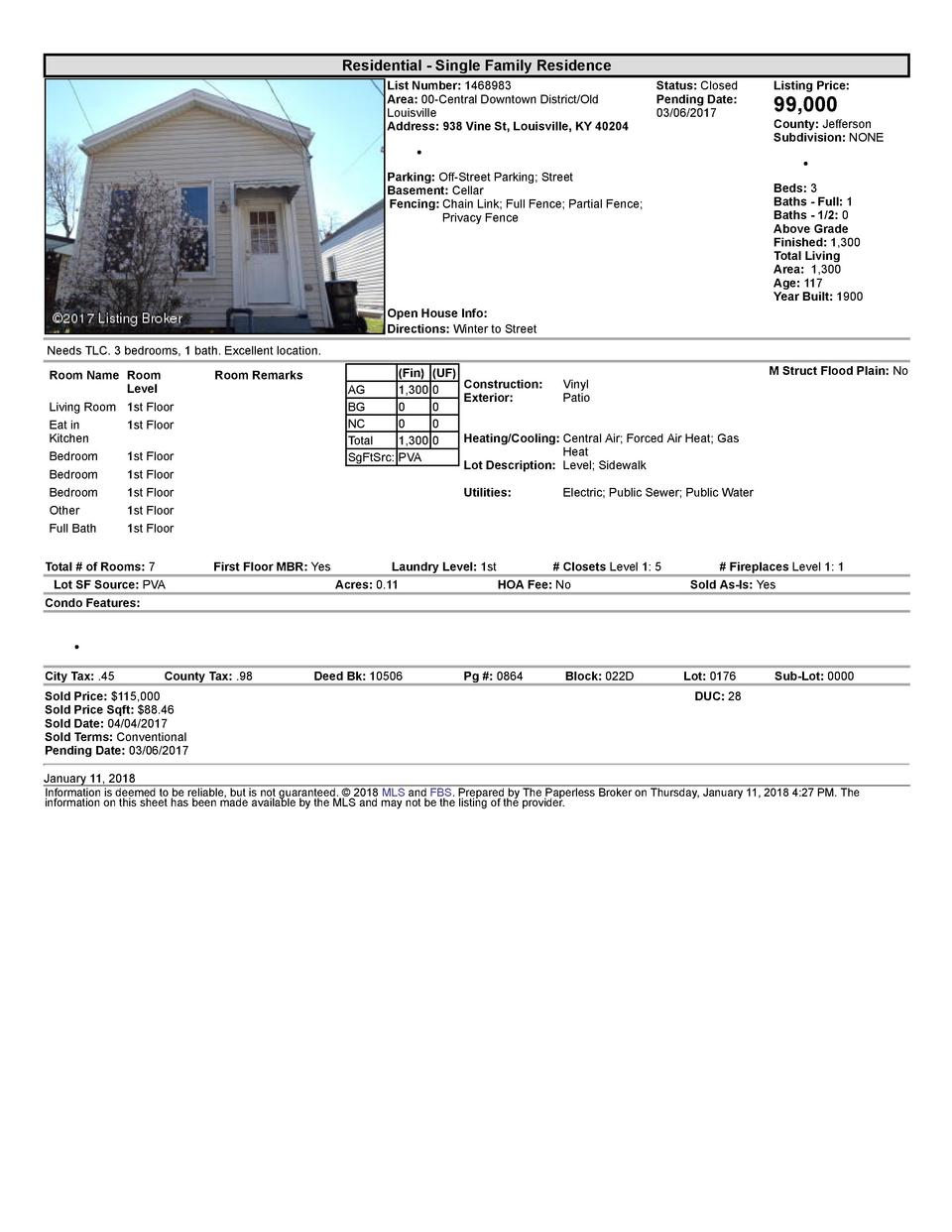 Residential      Single  Family  Residence List  Number   1468983 Area   00  Central  Downtown  District Old Louisville...