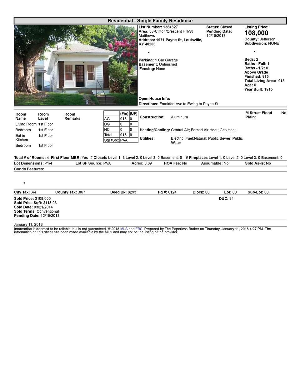 Residential      Single  Family  Residence List  Number   1384827    Status   Closed Area   03  Clifton Crescent  Hill ...