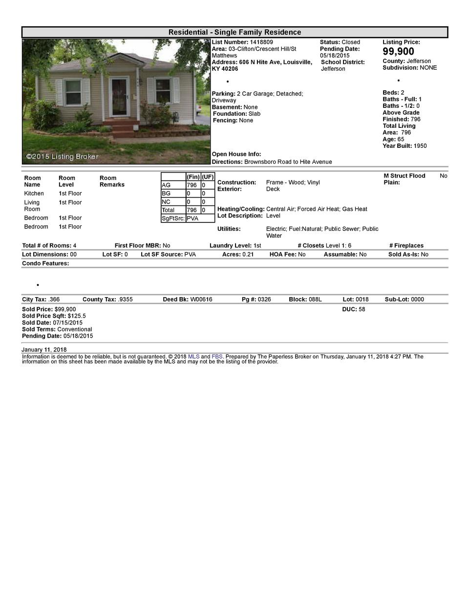 Residential      Single  Family  Residence List  Number   1418809    Status   Closed Area   03  Clifton Crescent  Hill ...