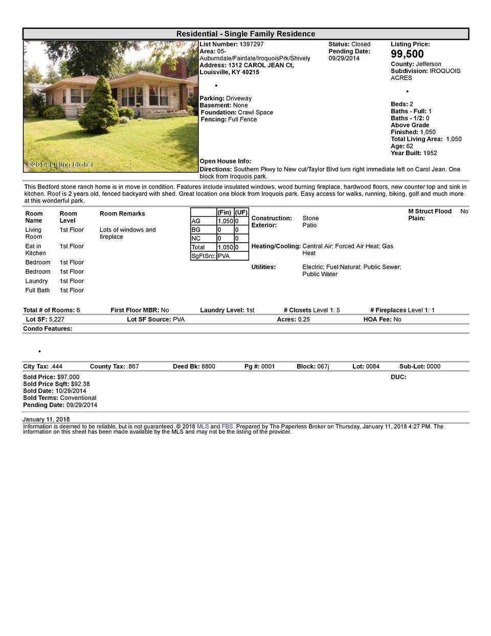 Residential      Single  Family  Residence List  Number   1397297 Area   05   Auburndale Fairdale IroquoisPrk Shively A...