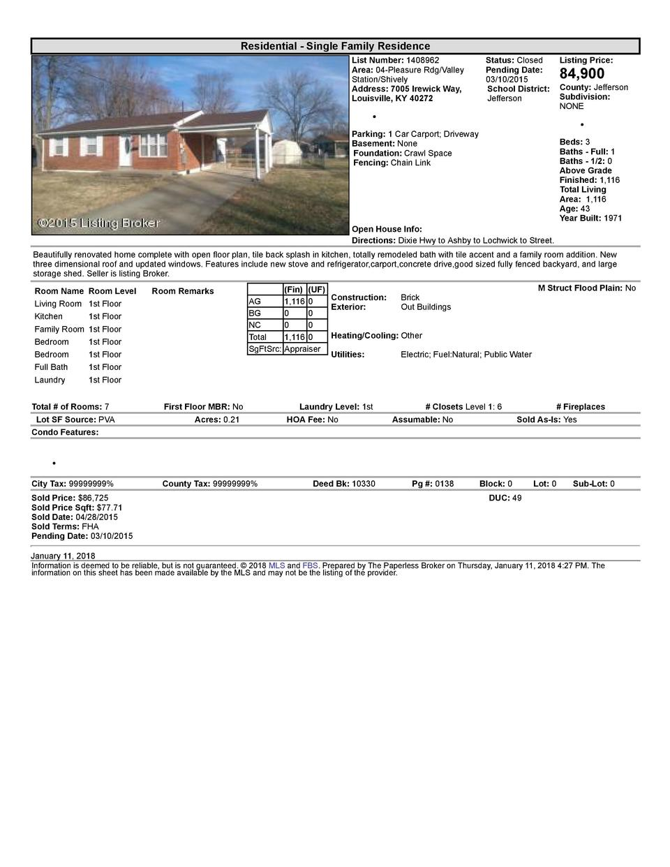 Residential      Single  Family  Residence List  Number   1408962 Area   04  Pleasure  Rdg Valley Station Shively Addre...