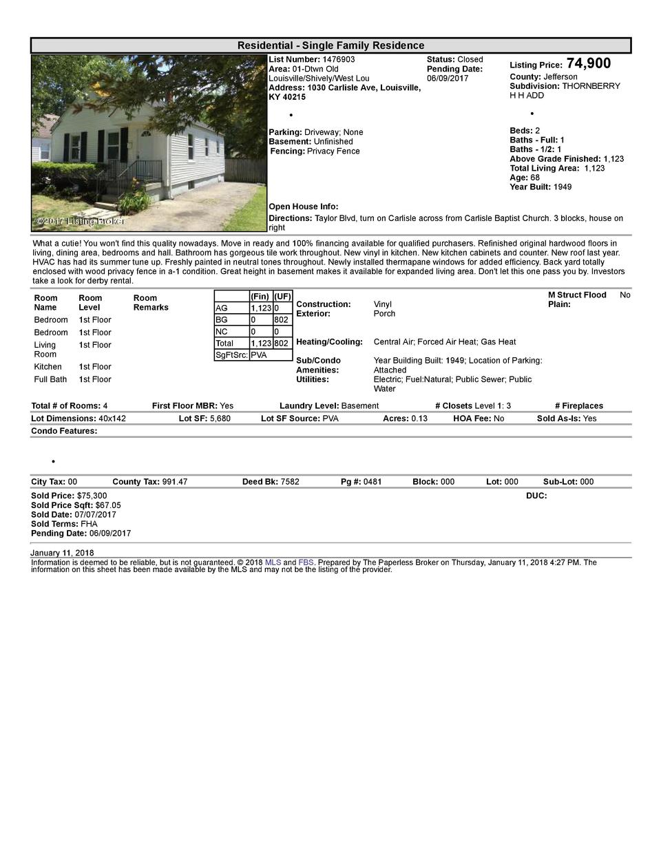 Residential      Single  Family  Residence    74,900  List  Number   1476903    Status   Closed Area   01  Dtwn  Old Pe...
