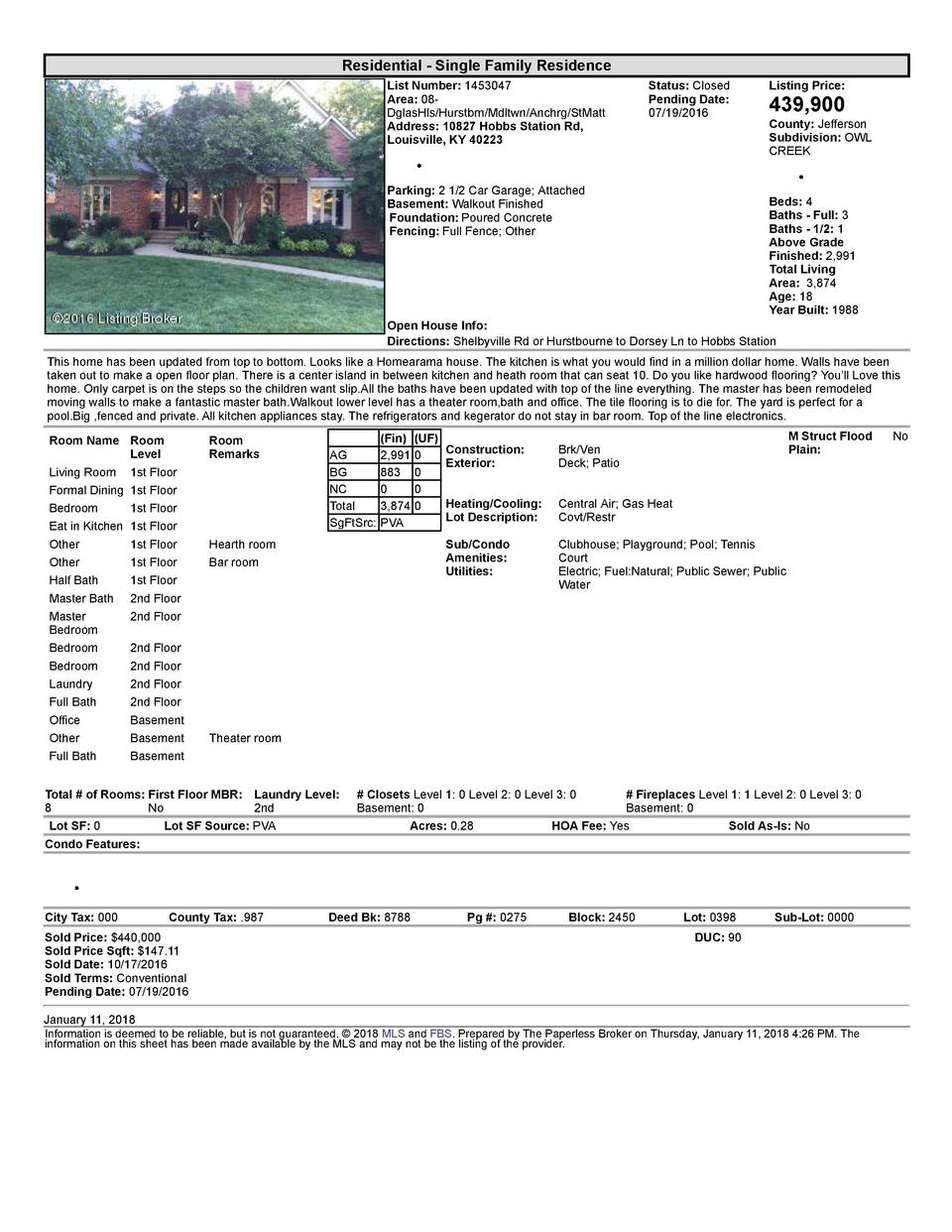 Residential      Single  Family  Residence List  Number   1453047 Area   08   DglasHls Hurstbrn Mdltwn Anchrg StMatt Ad...