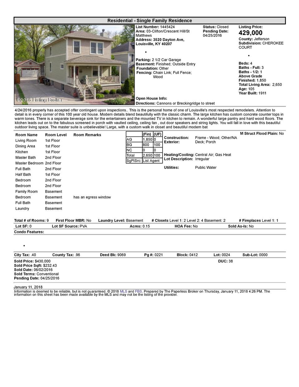 Residential      Single  Family  Residence List  Number   1445424 Area   03  Clifton Crescent  Hill St Matthews Address...