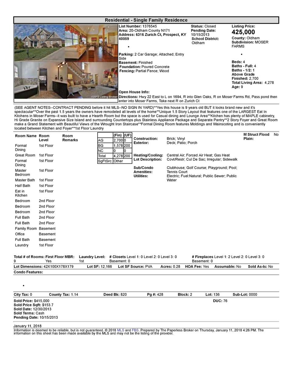 Residential      Single  Family  Residence List  Number   1376545    Status   Closed Area   20  Oldham  County  N171 Pe...