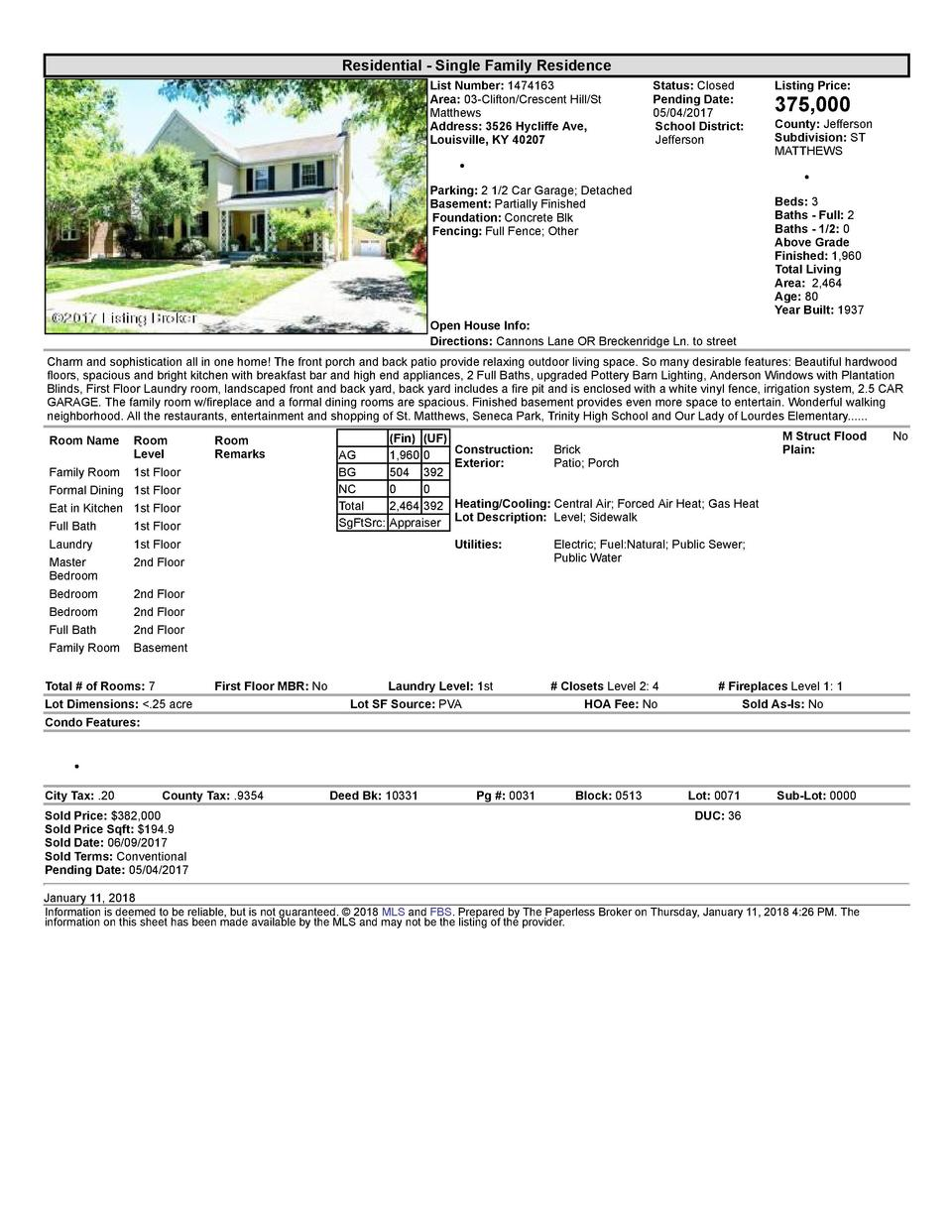 Residential      Single  Family  Residence List  Number   1474163 Area   03  Clifton Crescent  Hill St Matthews Address...