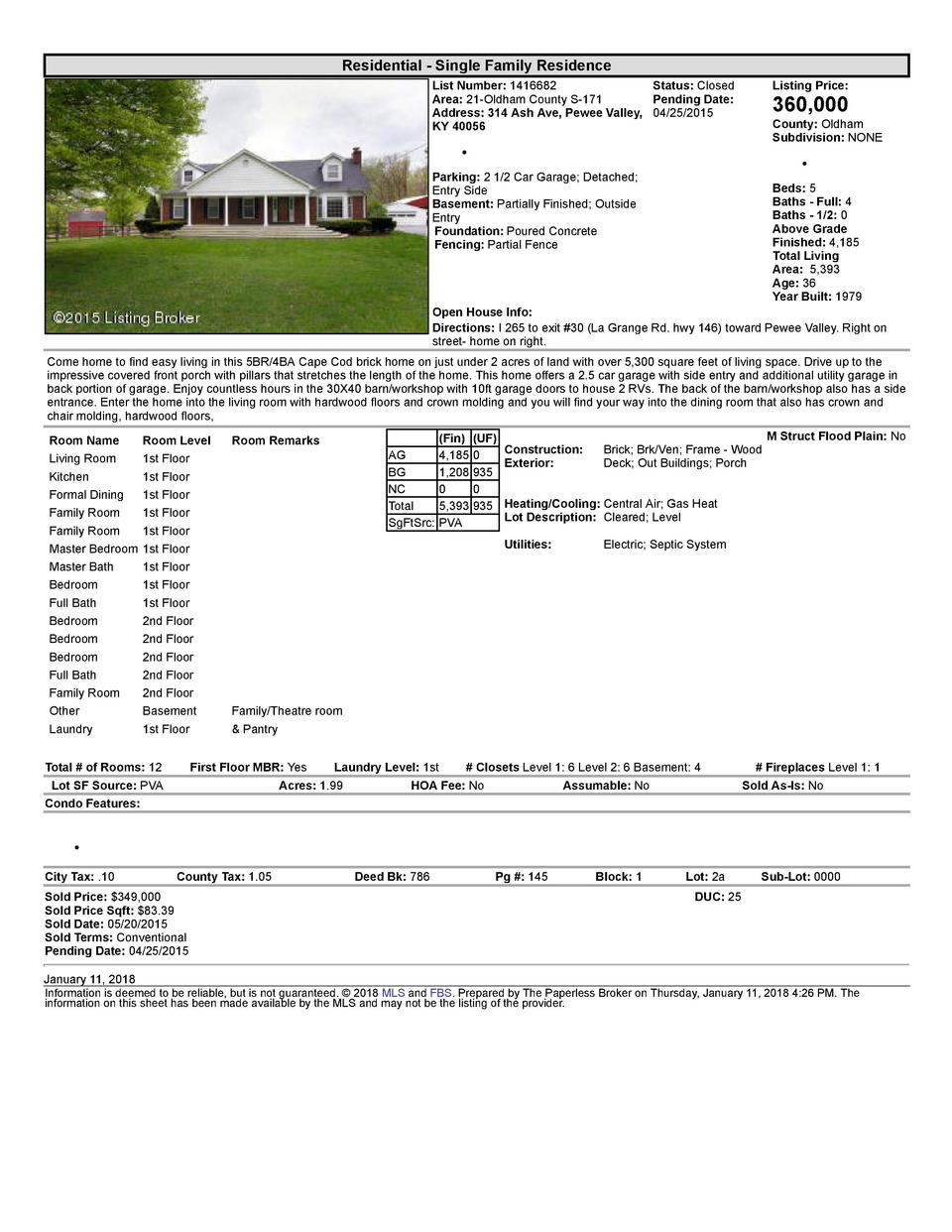 Residential      Single  Family  Residence List  Number   1416682    Status   Closed Area   21  Oldham  County  S  171 ...