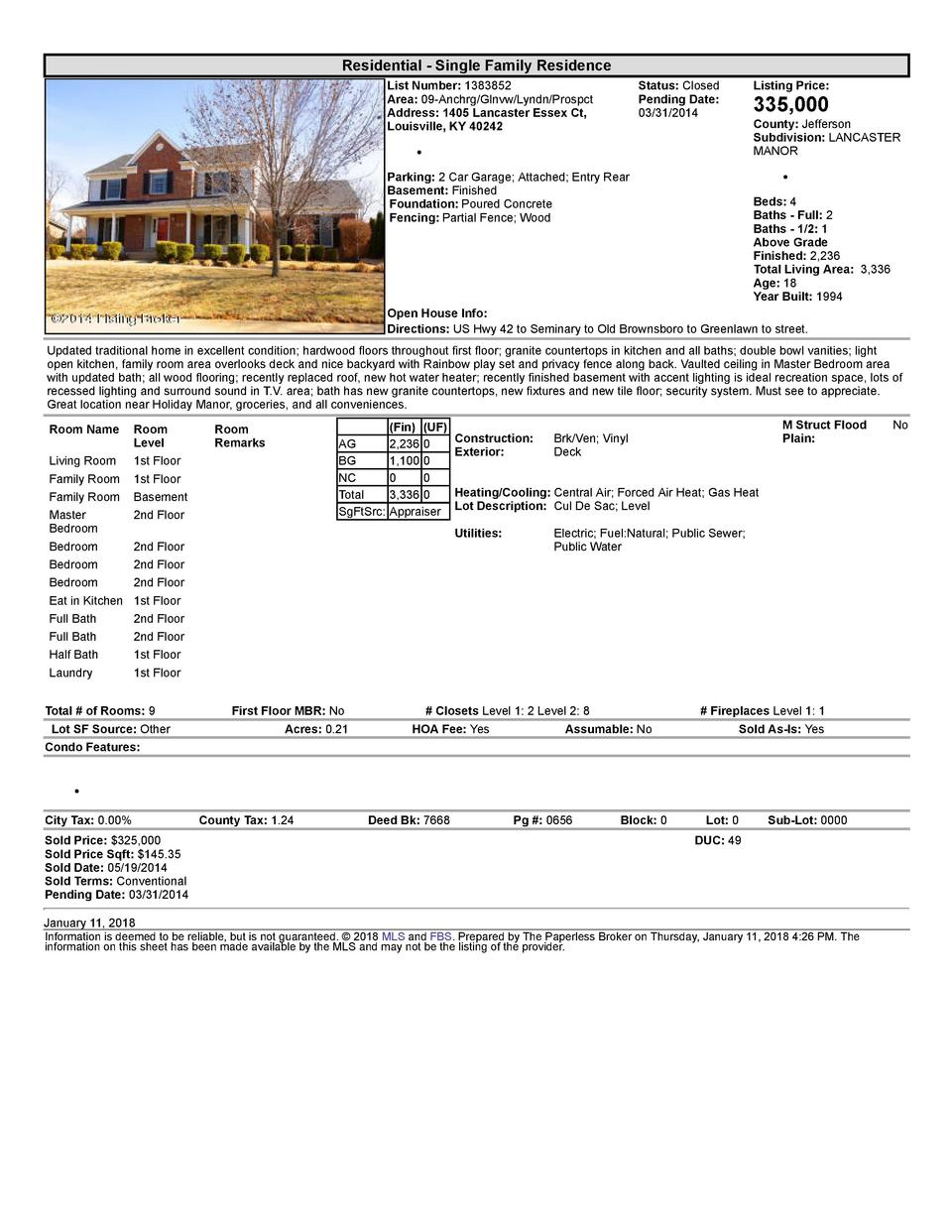 Residential      Single  Family  Residence List  Number   1383852 Area   09  Anchrg Glnvw Lyndn Prospct Address   1405 ...