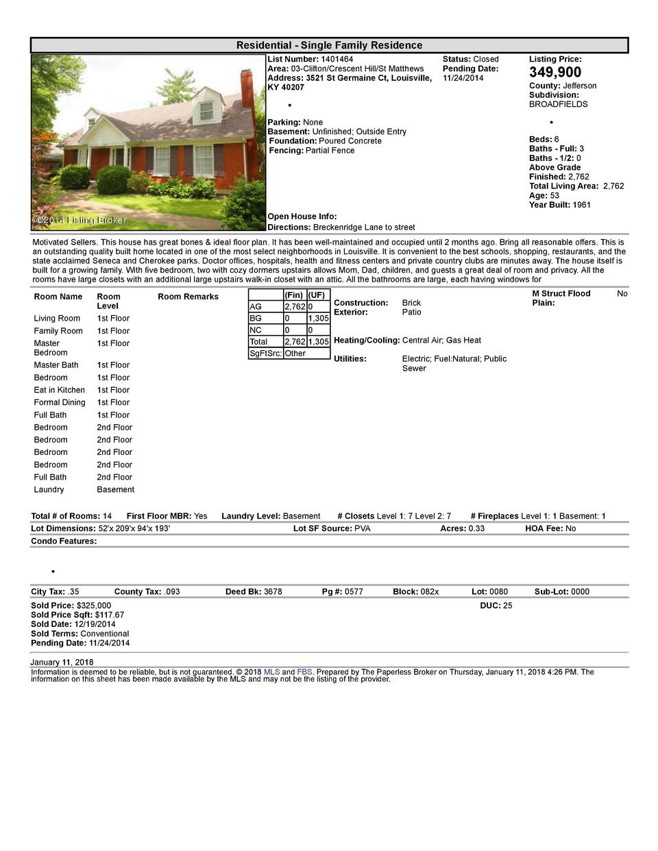 Residential      Single  Family  Residence List  Number   1401464    Status   Closed Area   03  Clifton Crescent  Hill ...
