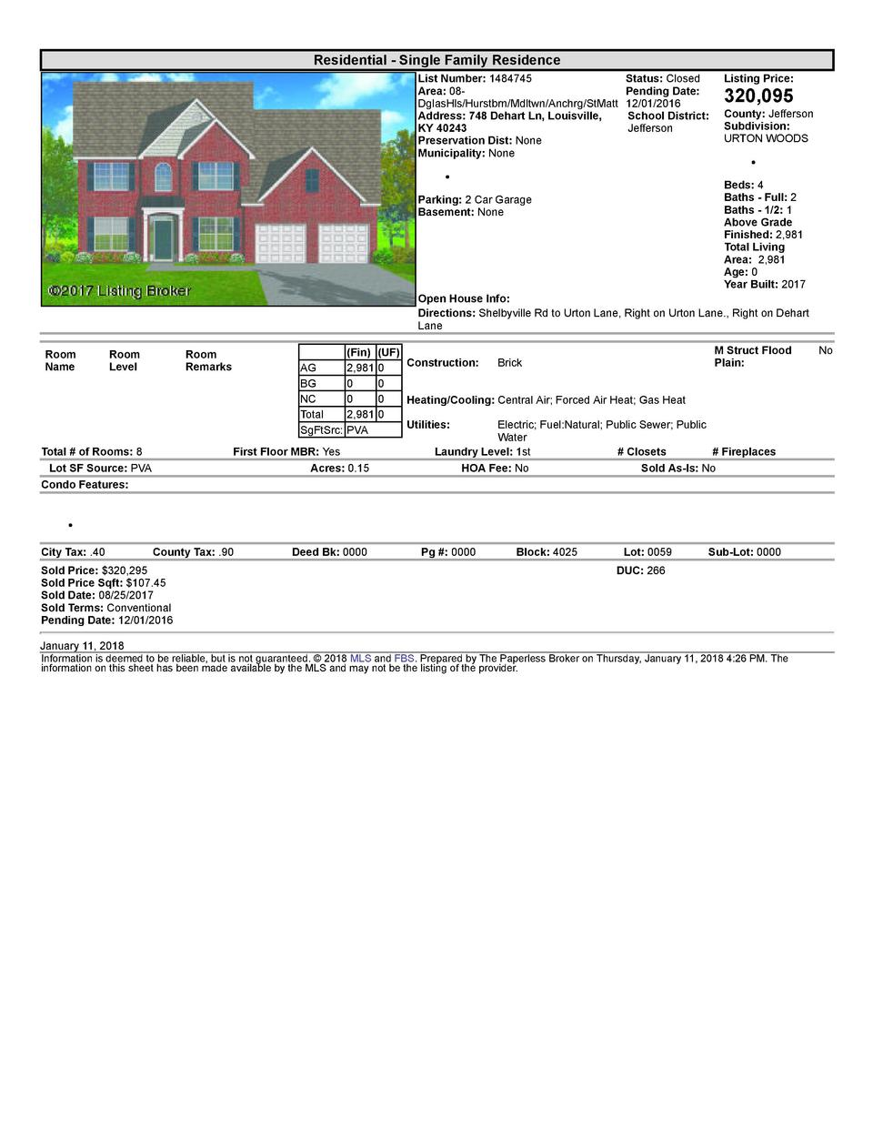 Residential      Single  Family  Residence List  Number   1484745    Status   Closed Listing  Price  Area   08   Pendin...