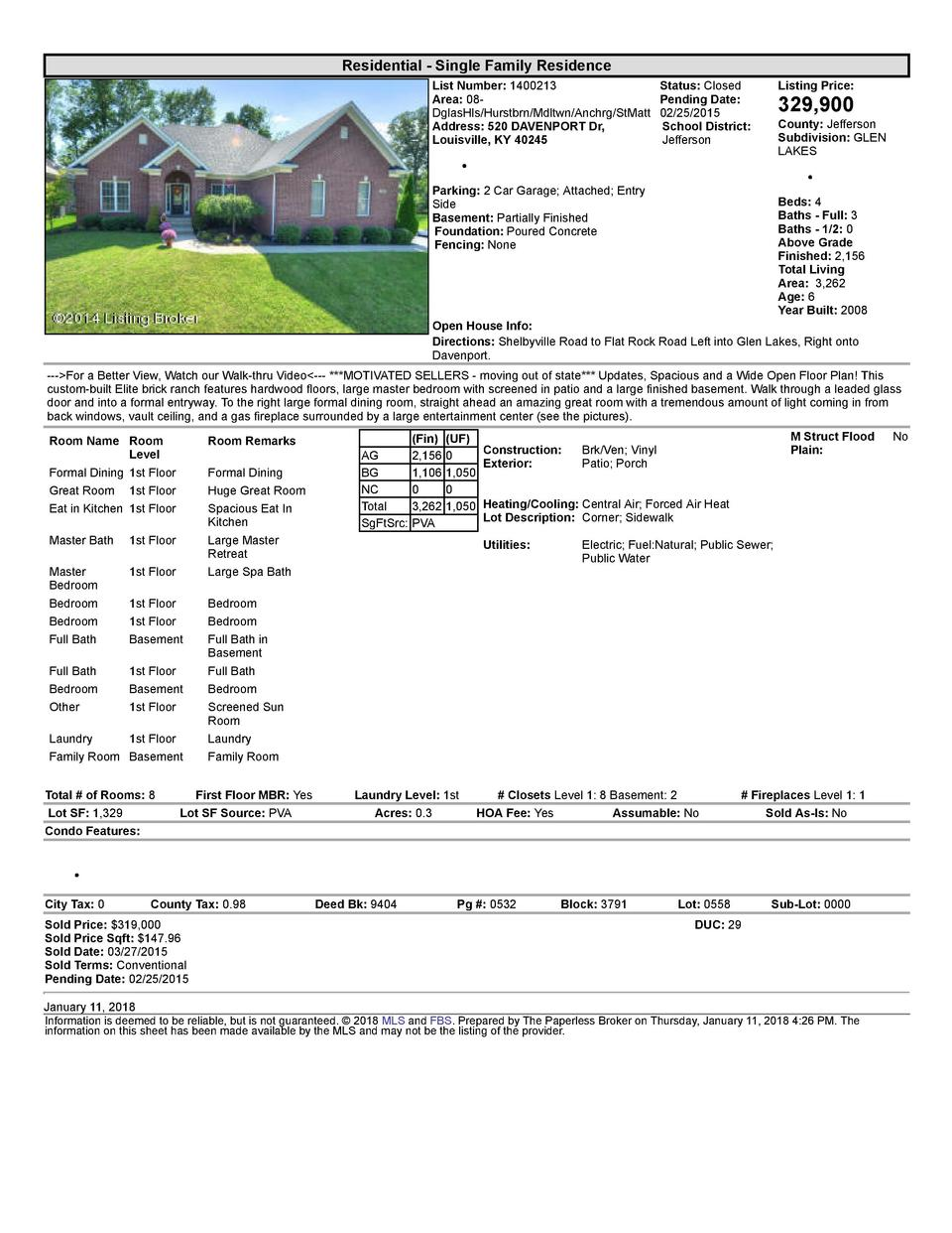 Residential      Single  Family  Residence List  Number   1400213 Area   08   DglasHls Hurstbrn Mdltwn Anchrg StMatt Ad...