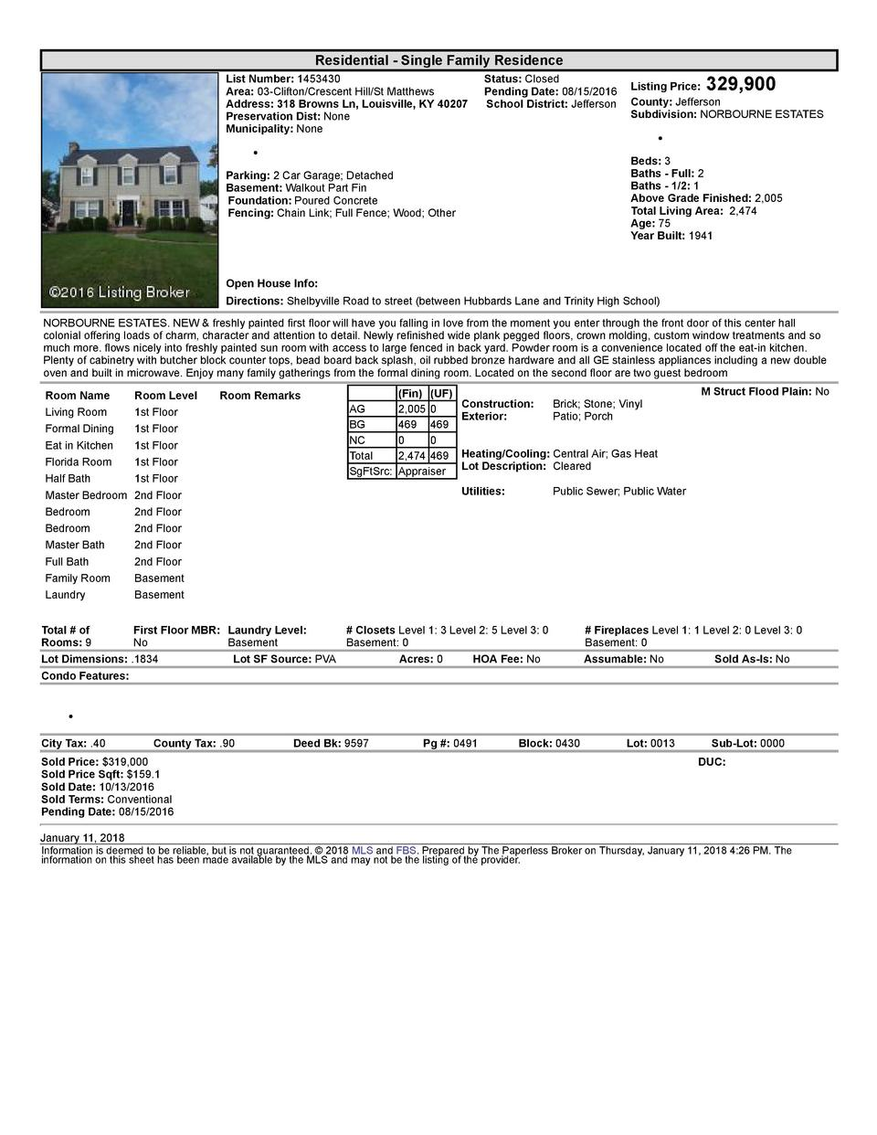 Residential      Single  Family  Residence    329,900  List  Number   1453430    Status   Closed    Area   03  Clifton ...