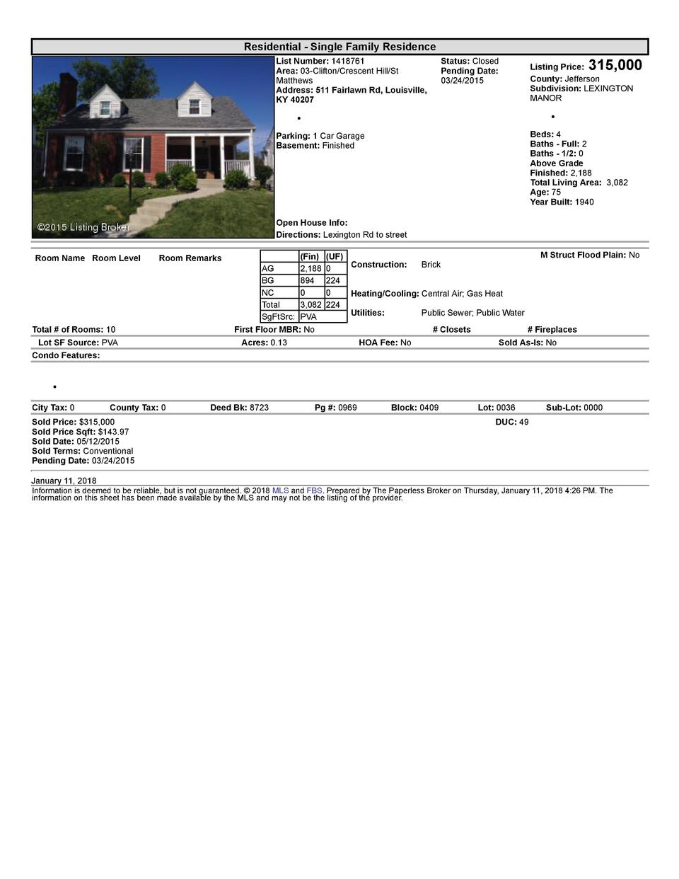 Residential      Single  Family  Residence List  Number   1418761 Area   03  Clifton Crescent  Hill St Matthews Address...