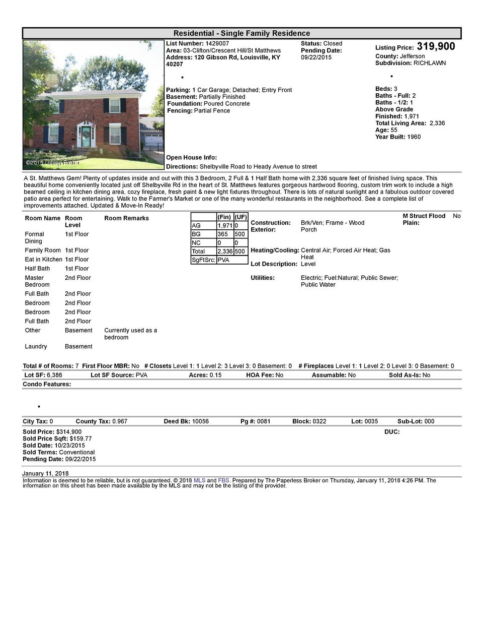 Residential      Single  Family  Residence List  Number   1429007 Area   03  Clifton Crescent  Hill St  Matthews Addres...