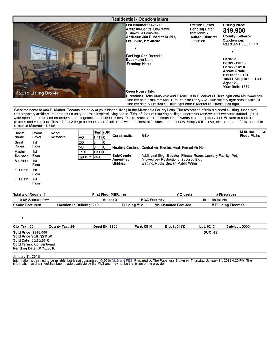 Residential      Condominium List  Number   1426218 Area   00  Central  Downtown District Old  Louisville Address   309...