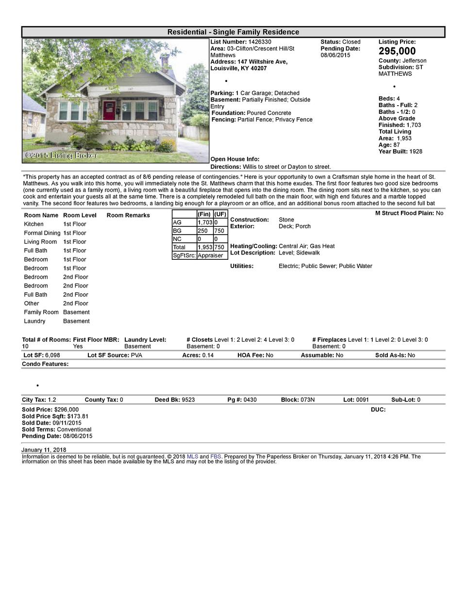 Residential      Single  Family  Residence List  Number   1426330 Area   03  Clifton Crescent  Hill St Matthews Address...