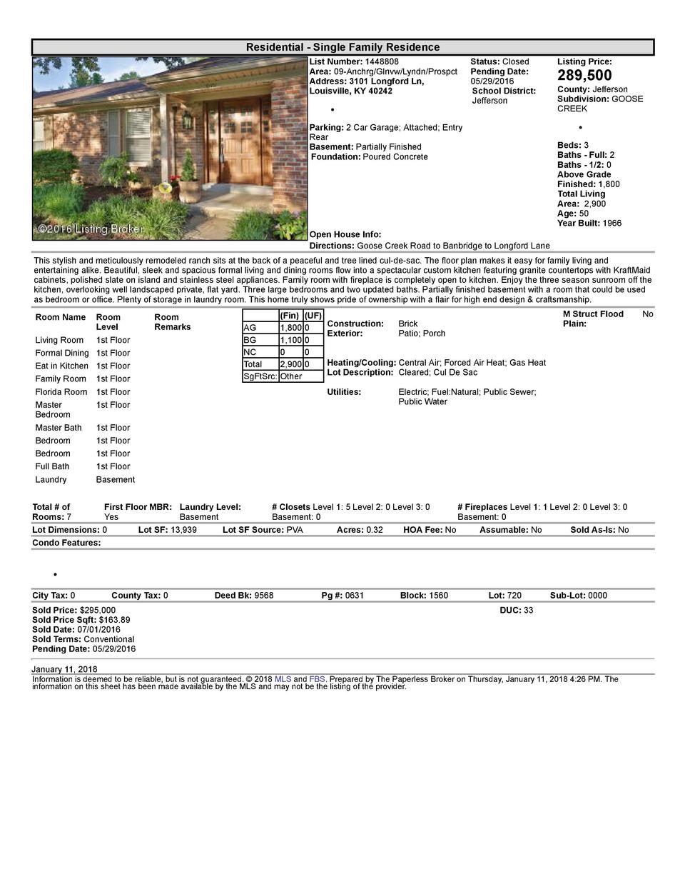 Residential      Single  Family  Residence List  Number   1448808 Area   09  Anchrg Glnvw Lyndn Prospct Address   3101 ...