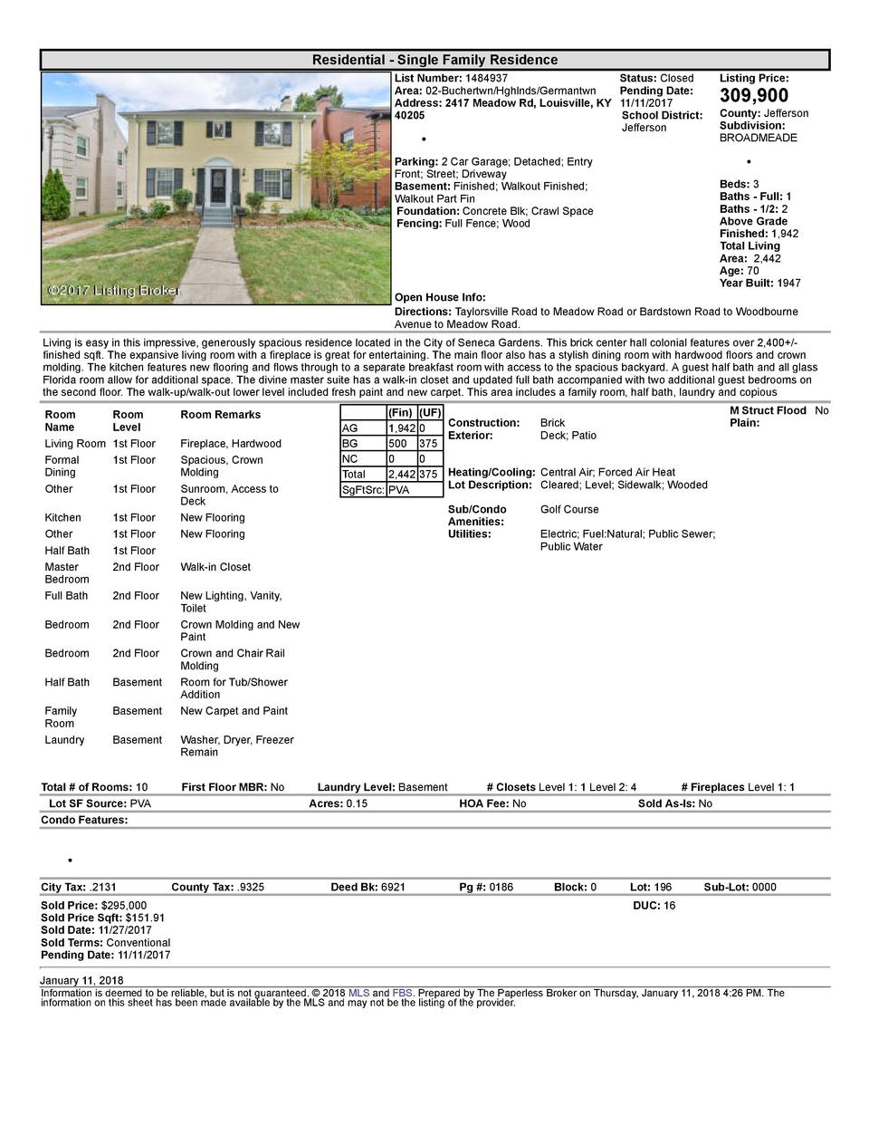 Residential      Single  Family  Residence List  Number   1484937    Status   Closed Listing  Price  Area   02  Buchert...