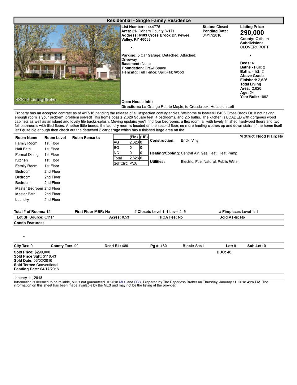 Residential      Single  Family  Residence List  Number   1444775 Area   21  Oldham  County  S  171 Address   6403  Cro...