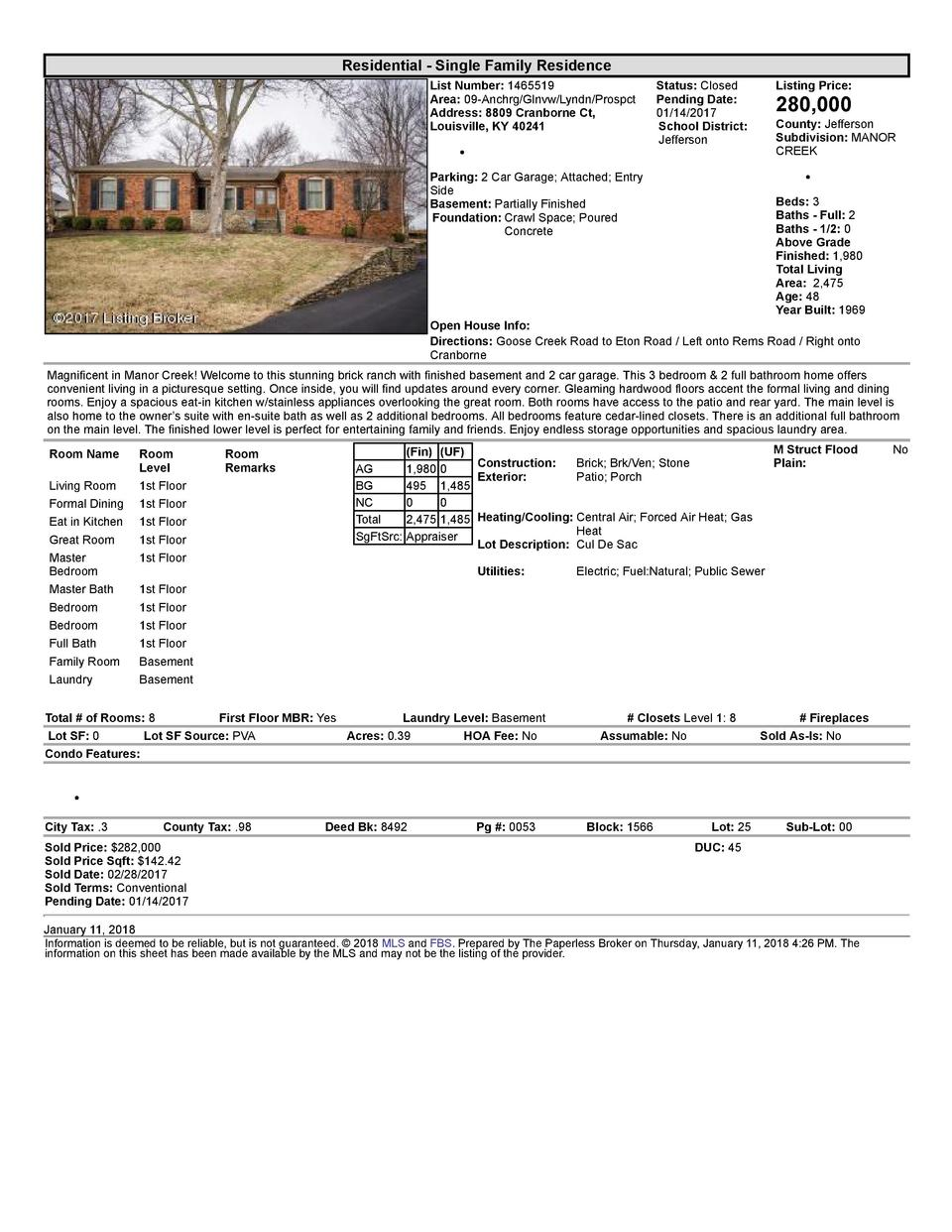 Residential      Single  Family  Residence List  Number   1465519 Area   09  Anchrg Glnvw Lyndn Prospct Address   8809 ...