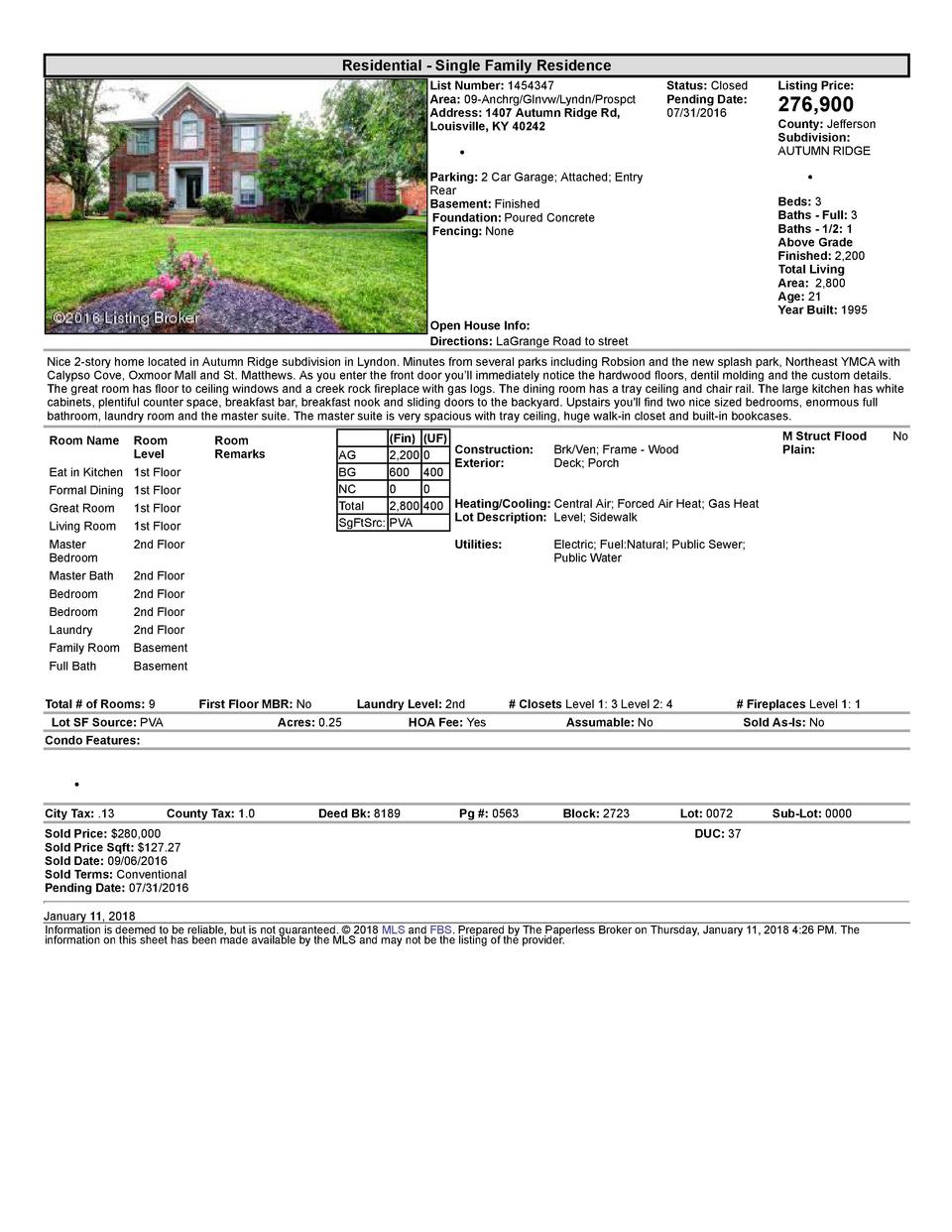 Residential      Single  Family  Residence List  Number   1454347 Area   09  Anchrg Glnvw Lyndn Prospct Address   1407 ...