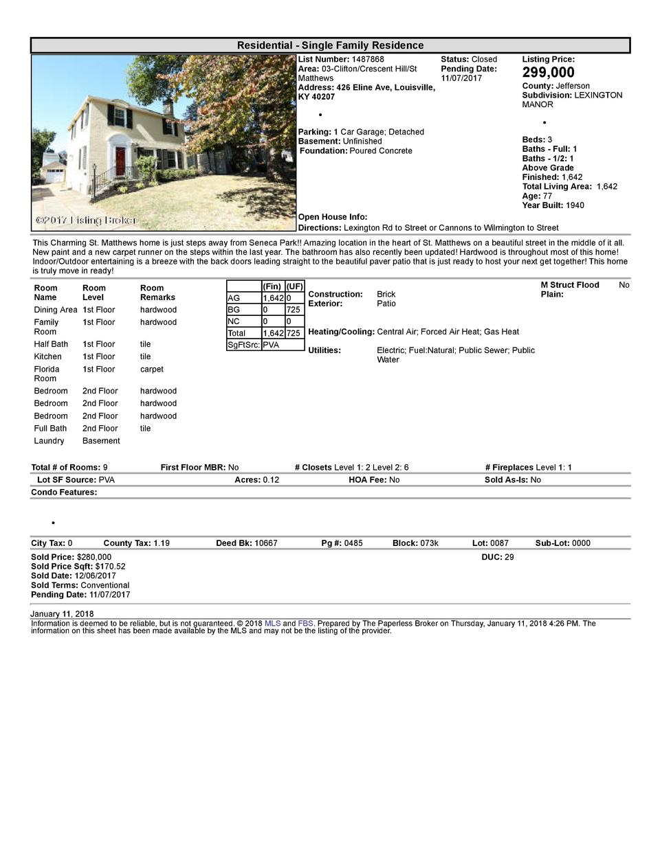 Residential      Single  Family  Residence List  Number   1487868    Status   Closed Area   03  Clifton Crescent  Hill ...