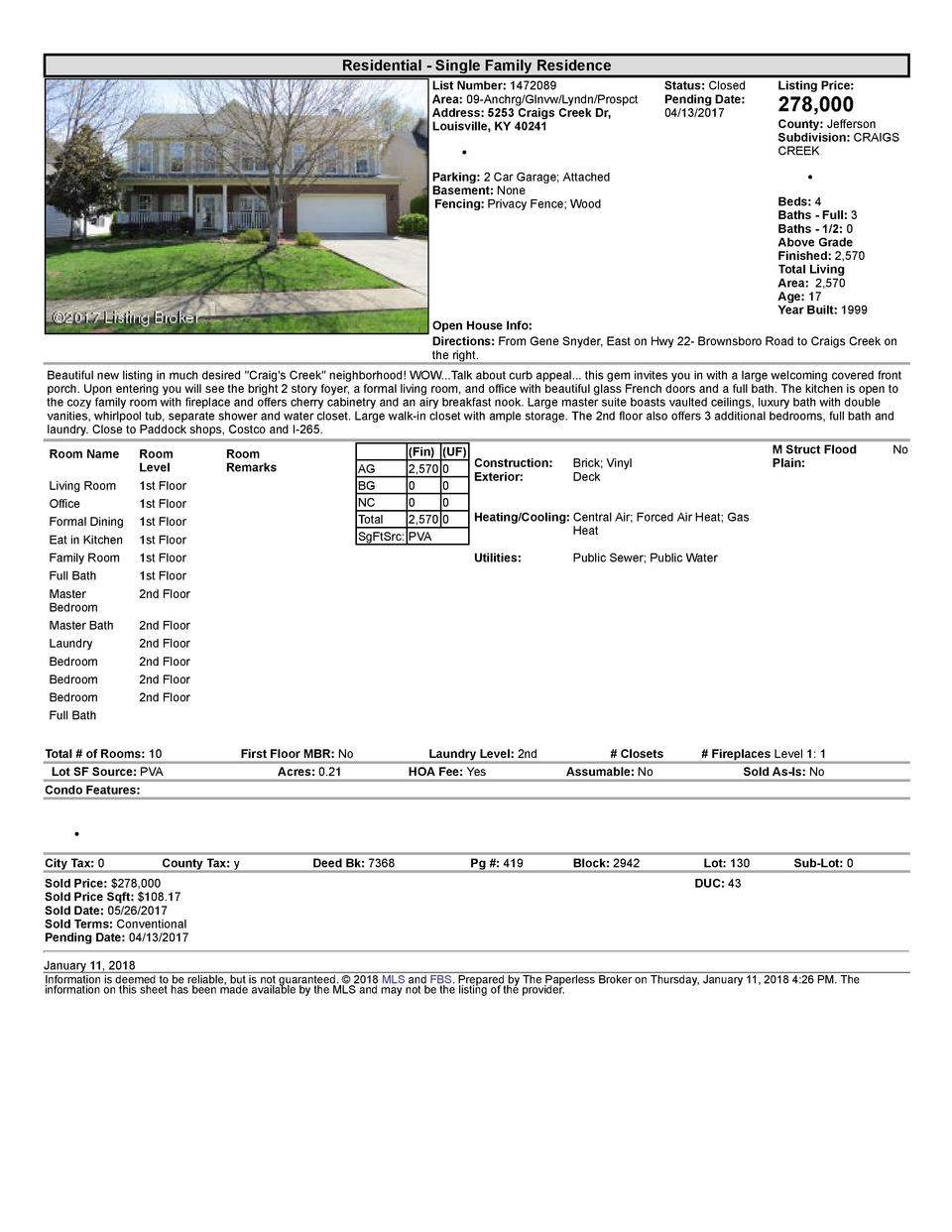 Residential      Single  Family  Residence List  Number   1472089 Area   09  Anchrg Glnvw Lyndn Prospct Address   5253 ...